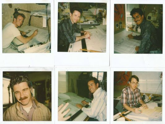 polaroid photos of people sitting at drafting tables