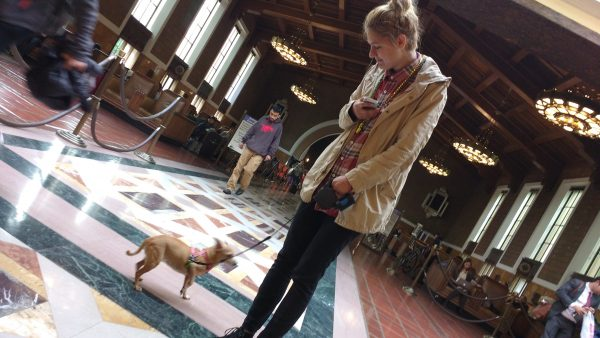 Tiki & Dasha in the terminal at Union Station in Downtown Los Angeles
